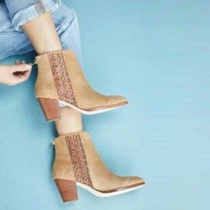 Anthropologie   Suede Ankle Embroidered Boots 10